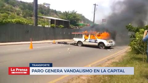 Paro genera vandalismo en Tegucigalpa