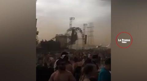 El momento cuando escenario colapsa matando a un DJ en festival de música de Brasil