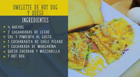 Omelette de hot dog y queso