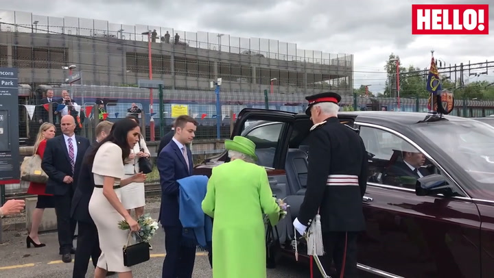 The Queen And Duchess Of Sussex Leave Runcorn At Start Of Cheshire Visit