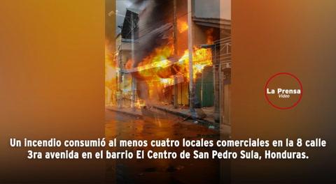 Incendio frente a centro comercial deja varios daños en San Pedro Sula