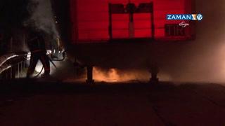 TEM Otoyolu'da bisküvi yüklü TIR yandı