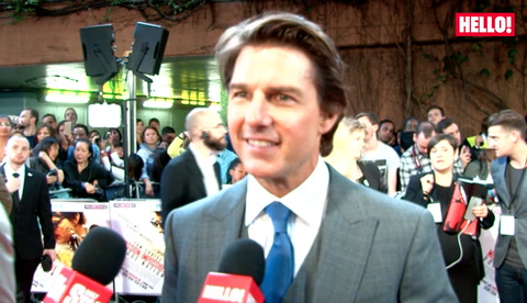 Tom Cruise, Simon Pegg & Rebecca Ferguson with HELLO! at Mission Impossible: Rogue Nation