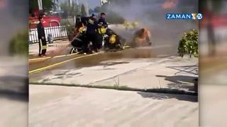 Tatbikat yapan itfaiyeciler yanmaktan son anda kurtuldu
