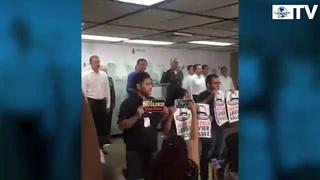 Periodistas de Sinaloa protestan en acto de Osorio Chong