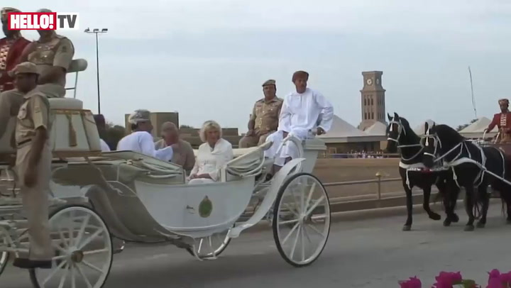 The Omani Royal Cavalry perform to Charles and Camilla