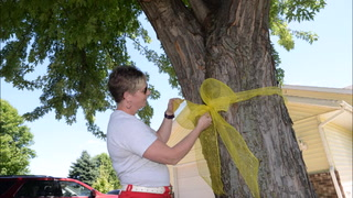 Deb Krueger ties a yellow ribbon recognizing a deployed soldier out of the Willmar Armory.