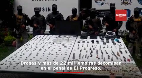 Drogas y más de 22 mil lempiras decomisan en el penal de El Progreso