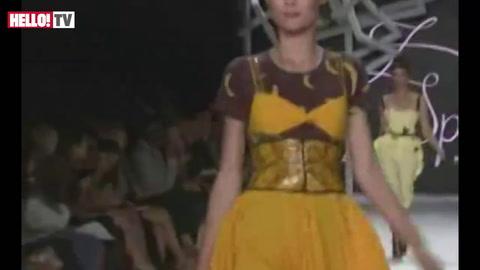 Plus-size model Crystal Renn walks catwalk for Zac Posen