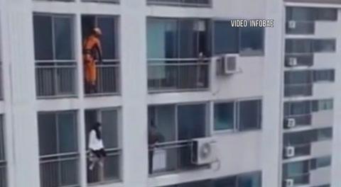 El violento rescate de un bombero a una mujer que intenta suicidarse