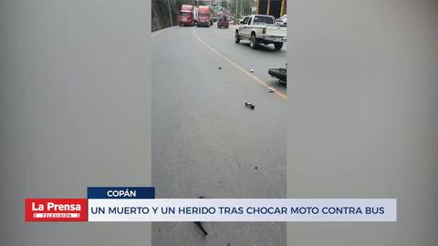 Un muerto y un herido tras chocar una motocicleta contra un bus en Copán