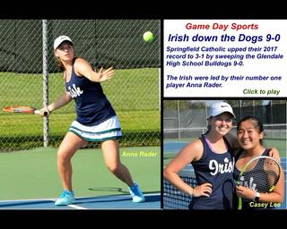Catholic sweeps Glendale tennis 9-0