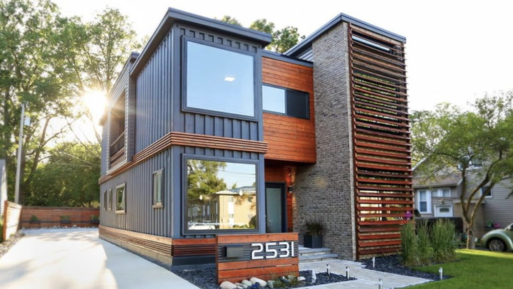 Video this modern shipping container home is attracting for Huge modern houses for sale