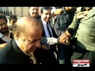 نواز شریف کی آمد پر دھکم پیل، صدیق الفاروق سیڑھیوں  سے گر پڑے