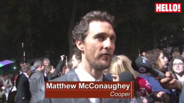 Anne Hathaway, Jessica Chastain and Matthew McConaughey attend the European premiere of Interstellar