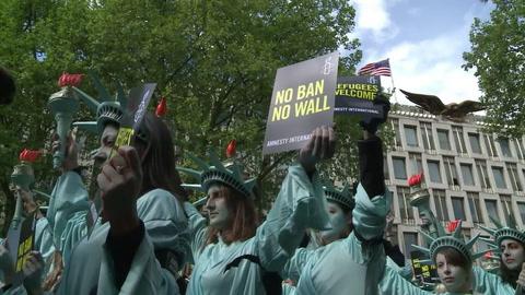 Protesta contra Trump en Londres ante 100 días al mando