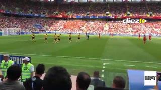 Así festejó Hazard su segundo gol en el partido contra Túnez