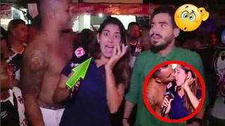 Hincha le robó un beso en la boca a sexi reportera brasileña en plena transmisión