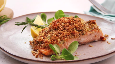 Video: Salmon with crunchy tarragon crumb recipe