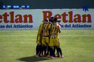Mario Martínez anota el 2 - 0 del Real España ante el Vida
