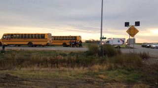 A collision between a Moorhead School District bus and a van on Tuesday, Oct. 25, 2016, left at least one person injured. Photo by Dave Olson / Forum News Service
