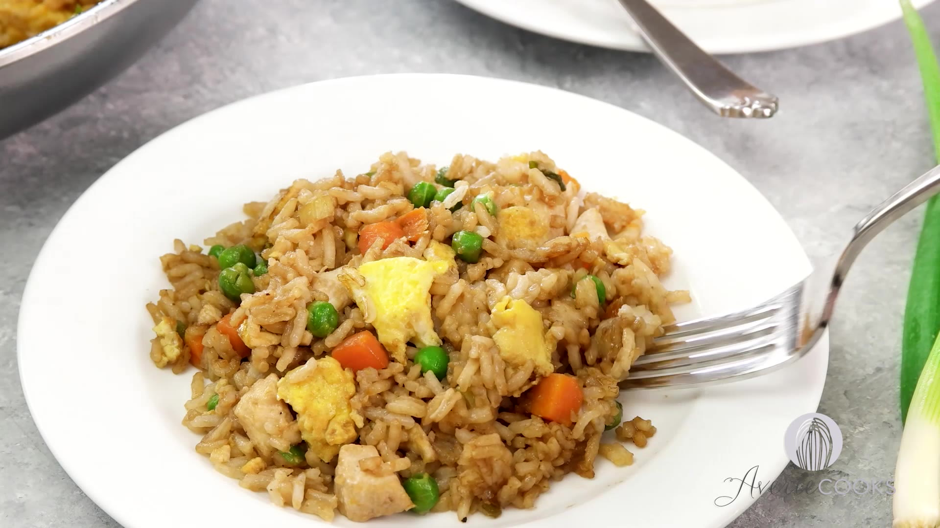 fried rice This recipe produces fried rice with individual grains and is lightly seasoned to allow the flavor of the rice to dominate.