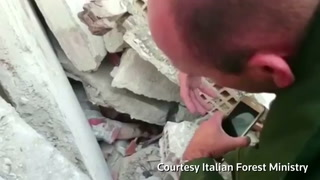 A man is rescued alive from the ruins following an earthquake in Amatrice, central Italy, August 24, 2016. REUTERS/Remo Casilli