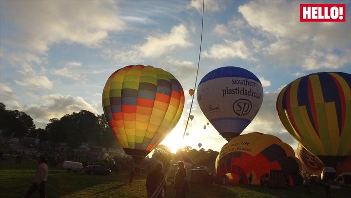 JB Gill and wife Chloe enjoy a hot air balloon ride courtesy of Virgin Balloon Flights