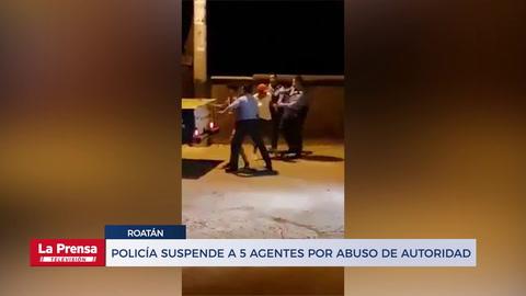 Policía suspenden a cinco agentes que aparecen en video propinando golpiza a ciudadanos en Roatán
