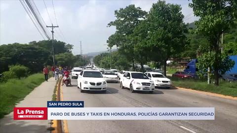 Paro de buses y taxis en Honduras, policías garantizan seguridad