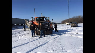 Crews respond to the scene Wednesday after a snowplow was struck by a train west of Brooten. (RAND MIDDLETON | TRIBUNE)
