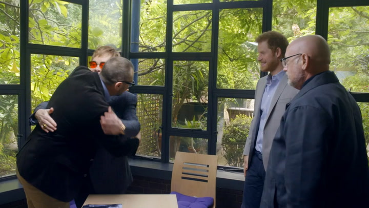Prince Harry joins Elton John to hear more about his mother\'s work for AIDS