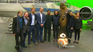 Pinewood Studios in the U.K. welcomes the British Royals for a tour of the Star Wars set.