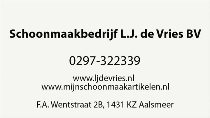 Vries L J de BV Schoonmaakbedrijf - Video tour