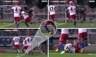 Futbolista Nicolai Muller se rompe los ligamentos celebrando gol