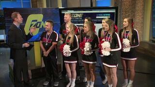 Drury cheer visits O-Zone following 2nd place national finish