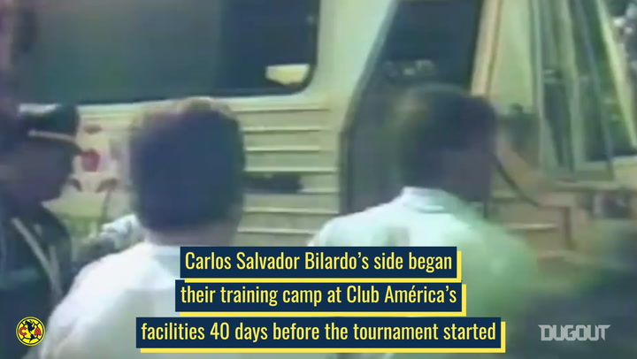 Argentina's lap of honour at Club América's training ground