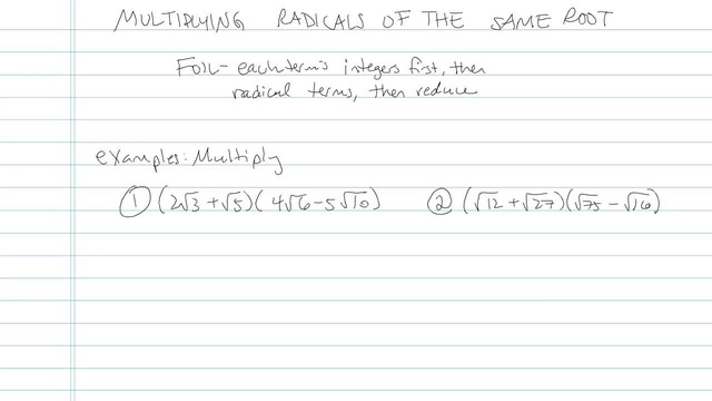 Multiplying Radicals of the Same Root - Problem 6