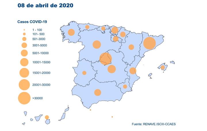 Evolución de los casos de Coronavirus en España a día 8 de abril