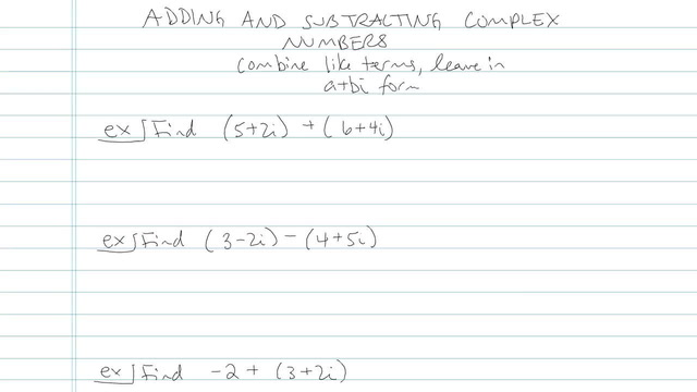 Adding and Subtracting Complex Numbers - Problem 2