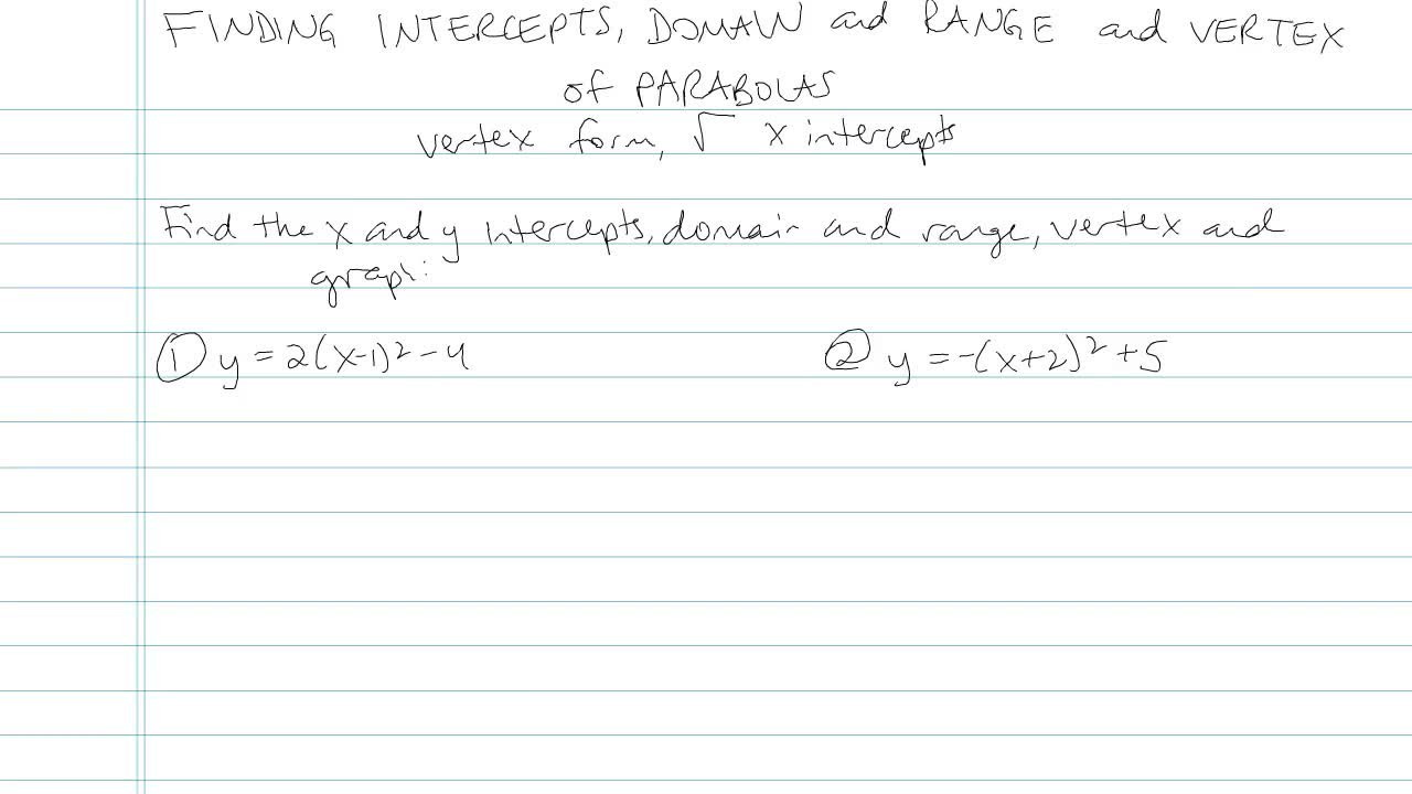 Finding intercepts domain range and vertex of a parabola math finding intercepts domain range and vertex of a parabola problem 7 ccuart Choice Image