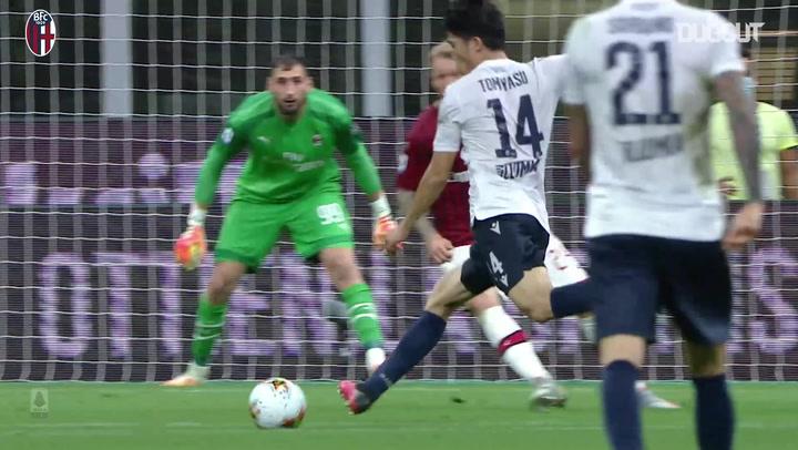 Takehiro Tomiyasu's first Bologna goal