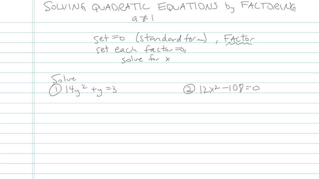 Solving Quadratic Equations by Factoring - Problem 19