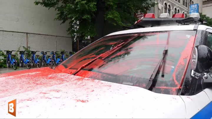 Protesters Pose in Front of Cop Car Splashed with Red Paint