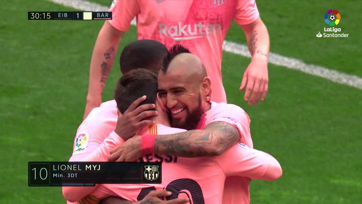 LaLiga: Eibar - Barça. Doblete de Leo Messi en Ipurua