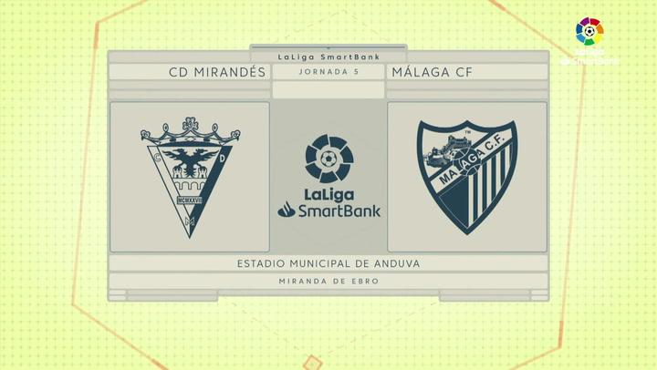 LaLiga SmartBank (J5): Resumen y goles del Mirandés 1-1 Málaga