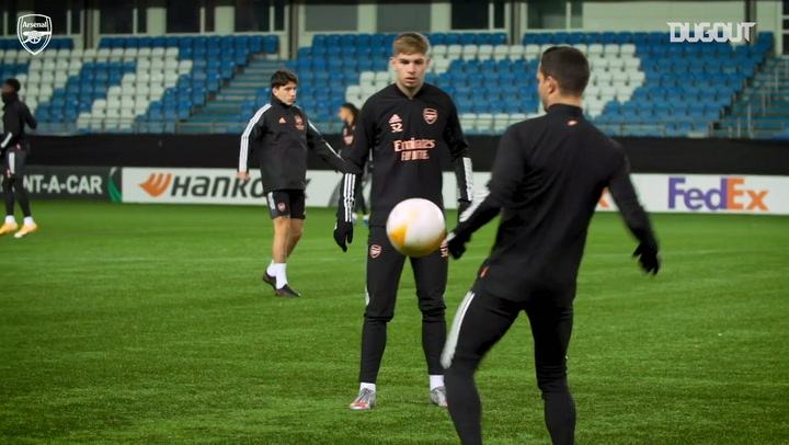 Arsenal stars in training before Molde clash