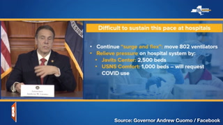 Cuomo to Request Conversion of Non-COVID Hospital Ship for Virus Patients