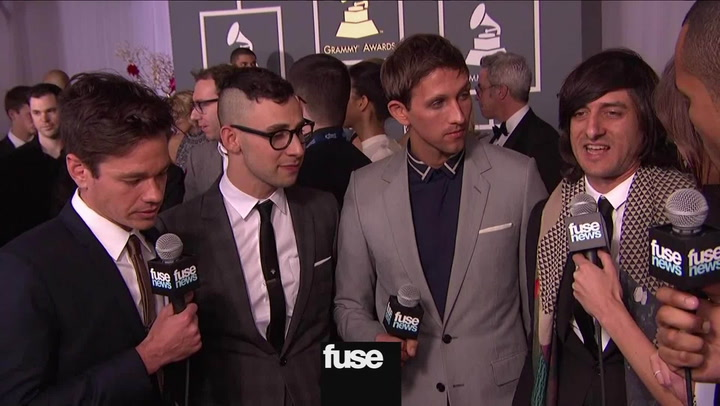 fun. And Their Producer Jeff Bhasker On The Red Carpet At The Grammys