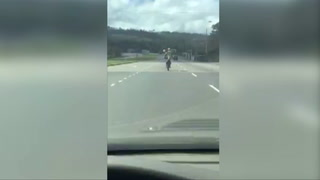 Motociclista arriesga su vida realizando acrobacias en la carretera CA-5